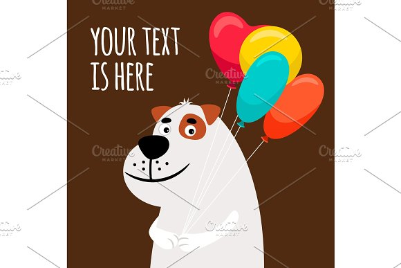 Cute dog with balloons greeting card