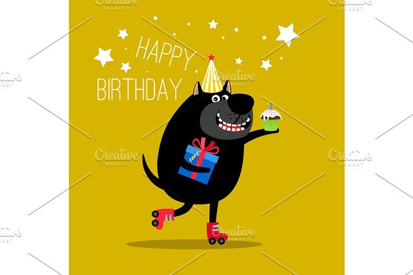 Happy dog on rollers greeting card