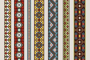 Ethnic ribbon patterns set