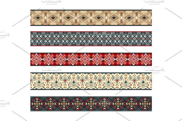 American indian ribbons pattern set