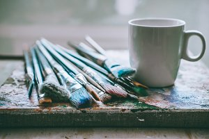 Artistic brushes in the studio