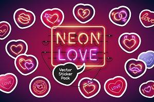 Neon Valentine's Day Sticker Pack
