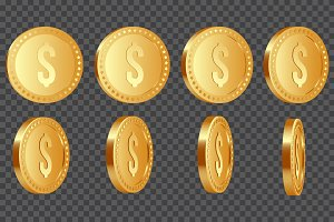 Golden metallic dollar coins.