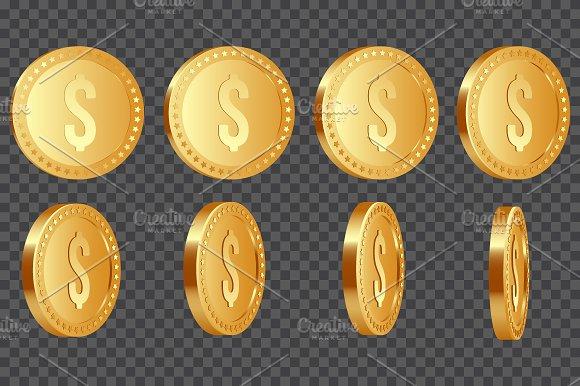 Golden Metallic Dollar Coins