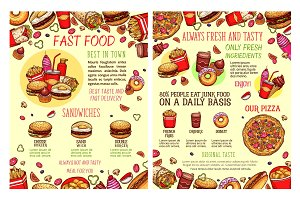 Vector street food fastfood snacks sketch menu