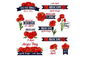 Anzac Day Lest We Forget red poppy vector icons