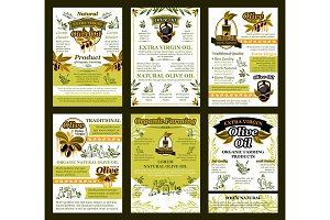 Vector posters of olives for organic olive oil