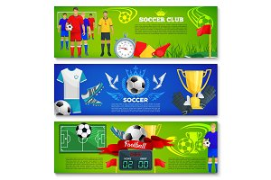 Vector banners for football or soccer sport club