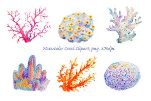 Watercolor Clipart Coral Collection