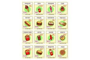 Vector fast food snacks sketch menu price cards