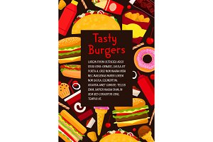 Vector fast food restaurant burgers menu poster