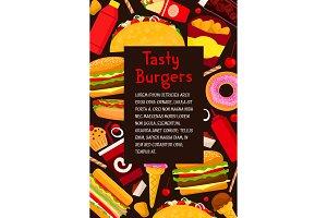 Vector fast food restaurant burgers menu poster