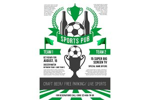 Vector poster for soccer sports pub