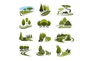 Vector icons for green landscape eco design