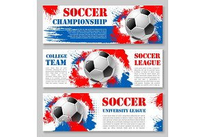 Vector football cup soccer team banners