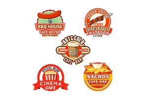 Vector fast food meal snacks icons set