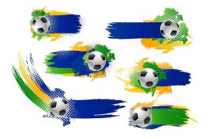 Vector football soccer ball icons or banners
