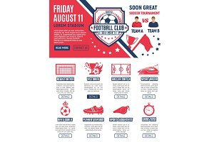 Vector web page design football soccer tournament