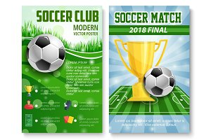 Vector posters of football soccer cup match