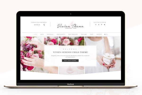 WordPress Photography Themes: Lovely Confetti - Portfolio eCommerce Genesis theme Vi