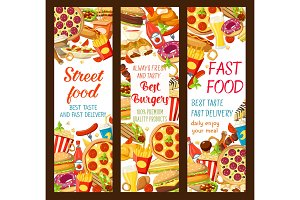 Vector fast food restaurant menu banners