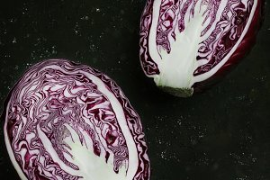 cut in half red cabbage