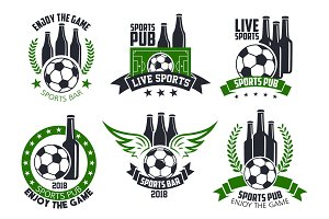 Soccer bar or football beer pub vector ball icons