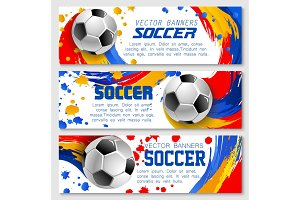 Vector soccer team football championship banners