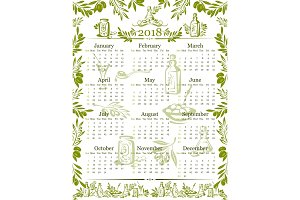 Vector olives olive oil calendar 2018 design