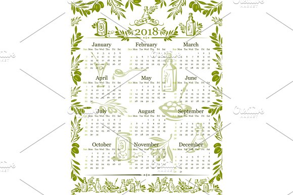 Vector Olives Olive Oil Calendar 2018 Design