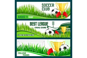 Vector football club soccer sport league banners