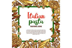 Vector pasta sketch poster for Italian cuisine