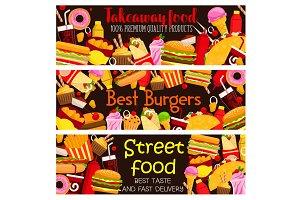 Vector street food restaurant menu banners