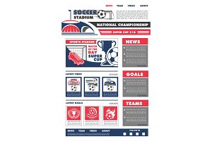 Vector football soccer game landing page design