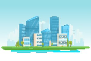 Modern city with skyscrapers