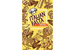 Vector Italian pasta sketch poster restaurant menu