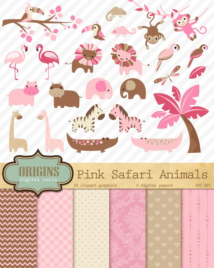 Baby Pink Safari Animals Clipart ~ Illustrations on ...