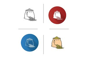 Wheat ears and flour bag icon