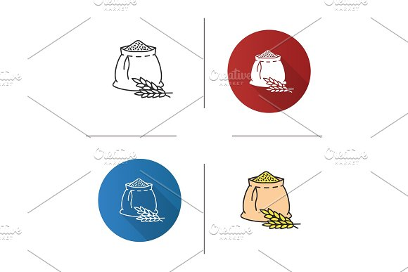 Wheat Ears And Flour Bag Icon