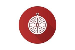 Wheel of fortune flat design long shadow glyph icon