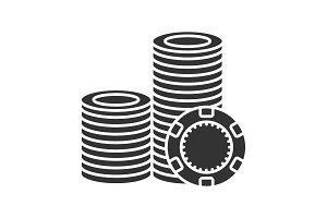 Casino chips stack glyph icon