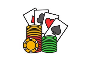 Casino chips stack with playing cards color icon