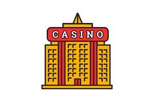 Casino building color icon