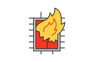 House on fire color icon