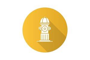 Hydrant flat design long shadow glyph icon