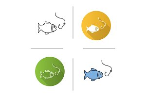 Fish and hook icon