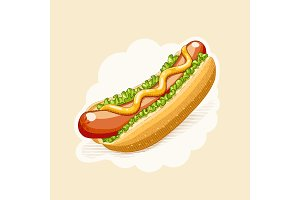 Hot dog. Fast food in engraving style.