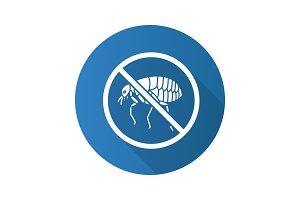 Stop fleas flat design long shadow glyph icon