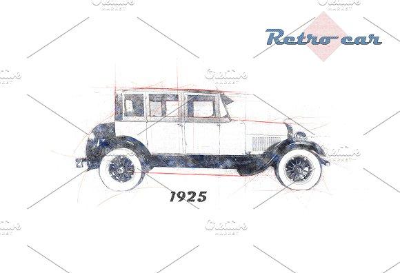 Retro Car Lincoln Graphic Objects Creative Market