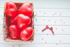 Valentine's Day, red hearts.